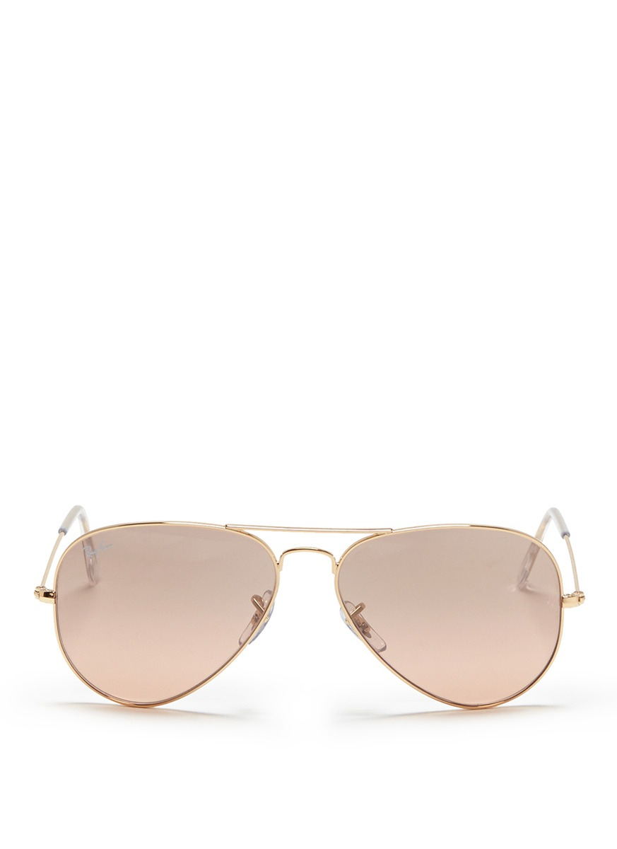 Lyst ray ban 39 aviator large metal 39 mirror sunglasses in for Mirror sunglasses