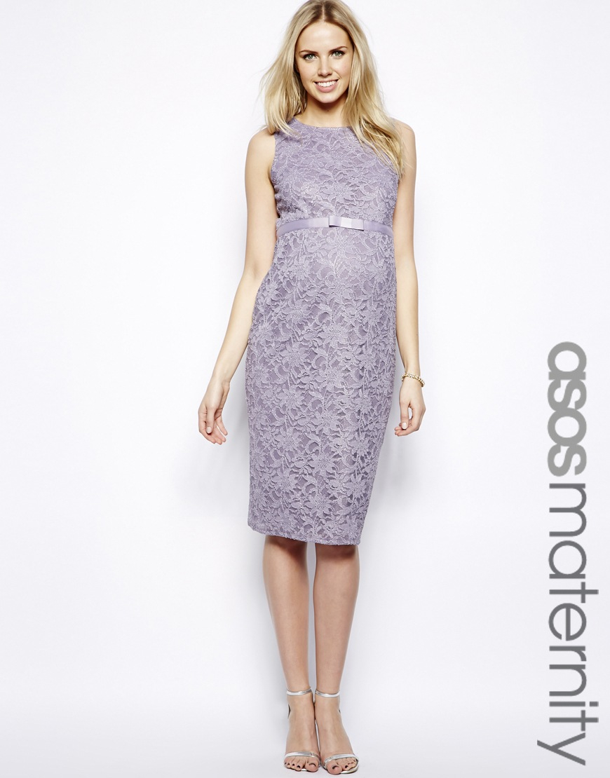 Lyst asos bodyconscious midi dress with grosgrain ribbon in purple gallery ombrellifo Images