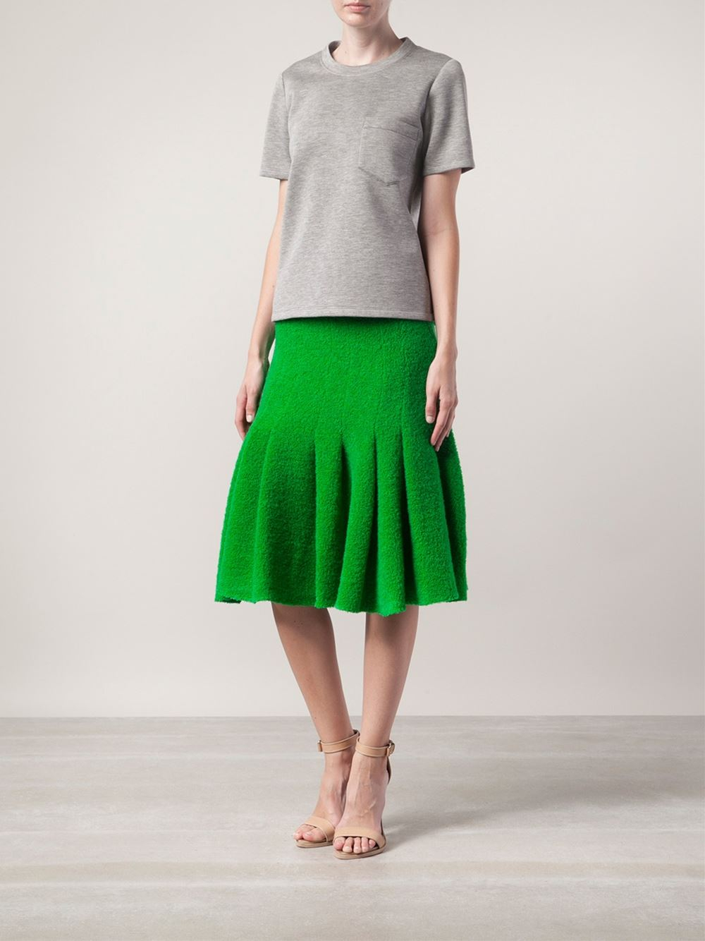 Thakoon Pleated Skirt in Green | Lyst