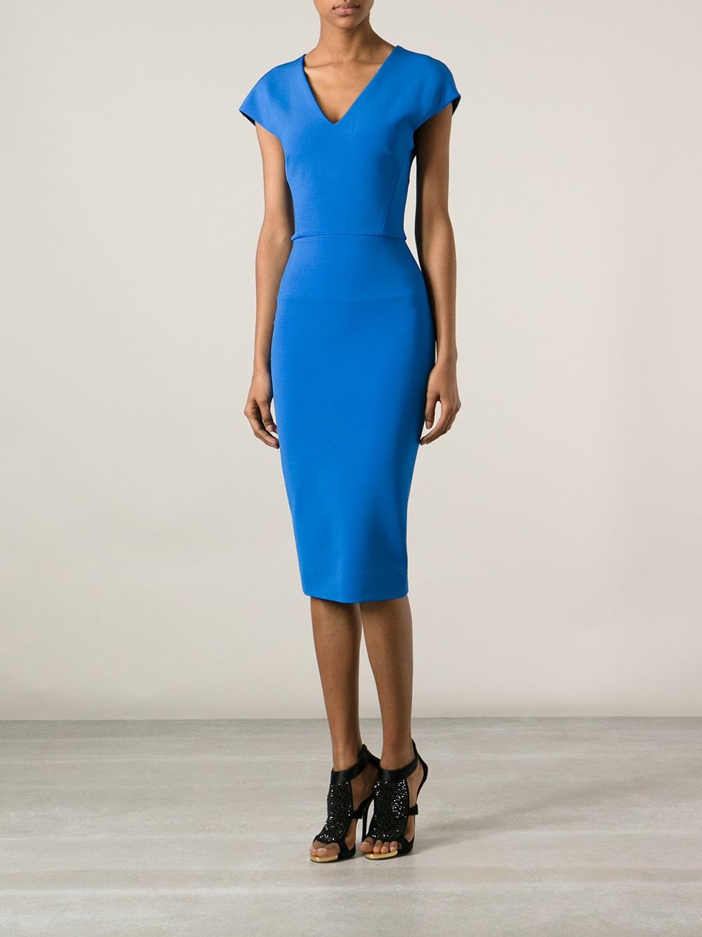 melange fitted dress - Blue Victoria Beckham NhpqBzO7n1