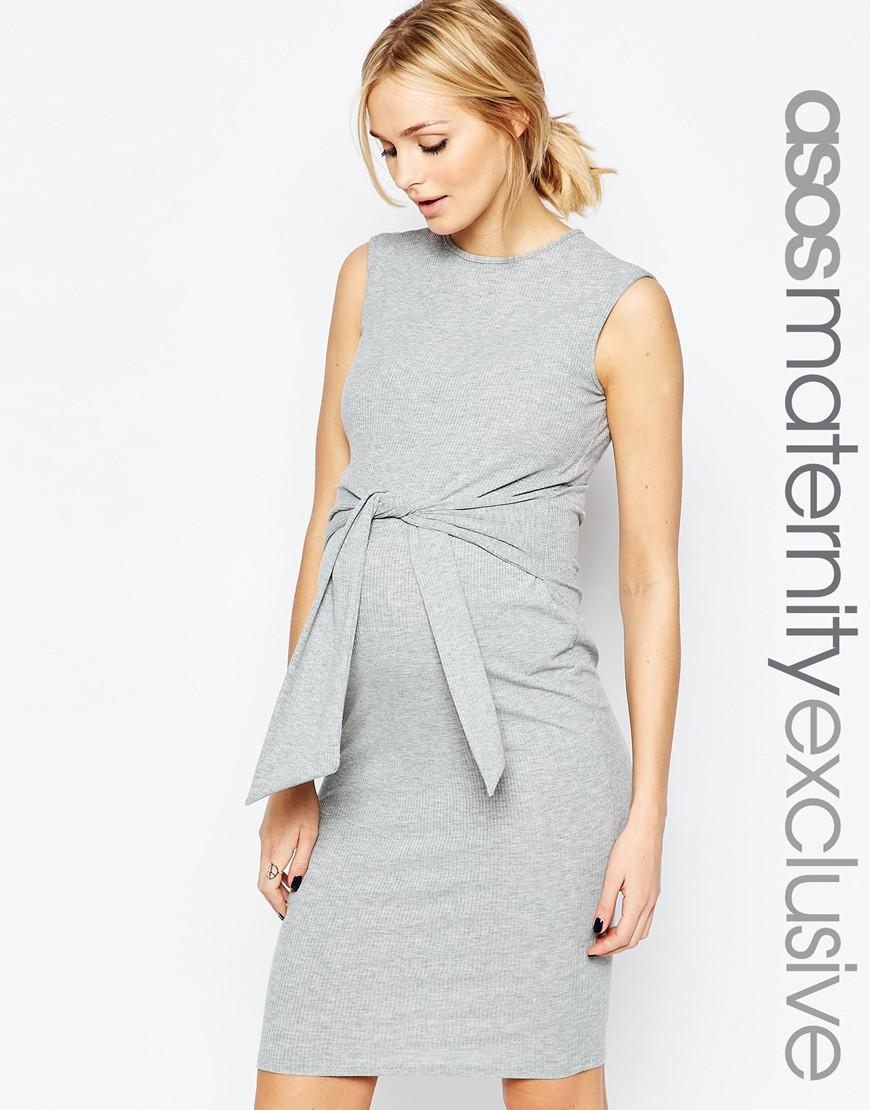 Lyst asos grey sleeveless rib bodycon dress with tie grey in gray gallery ombrellifo Choice Image