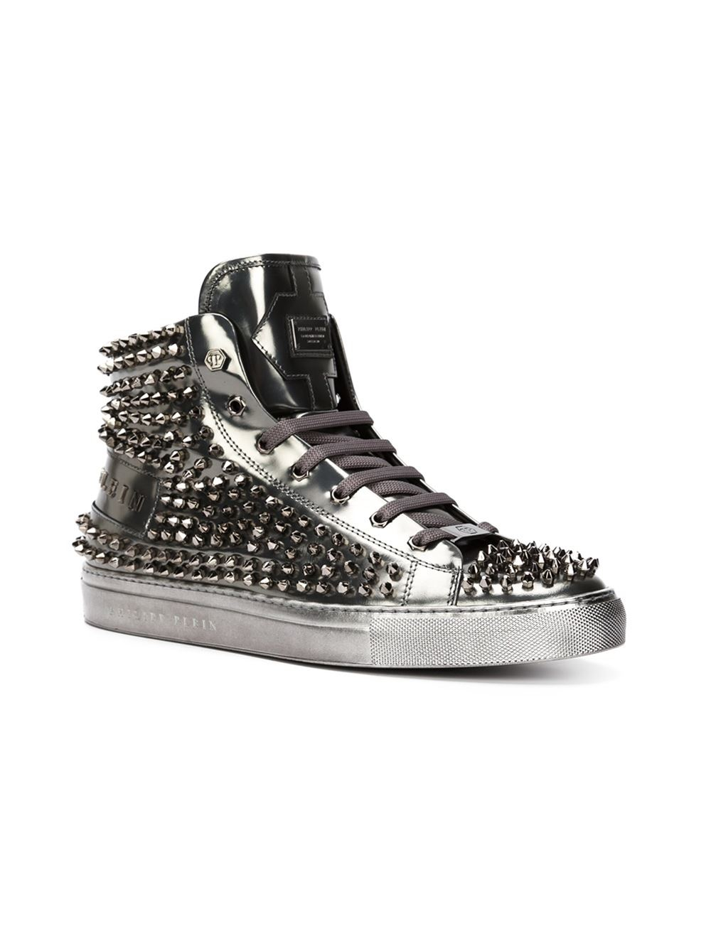 lyst philipp plein 39 high 39 hi top sneakers in gray for men. Black Bedroom Furniture Sets. Home Design Ideas