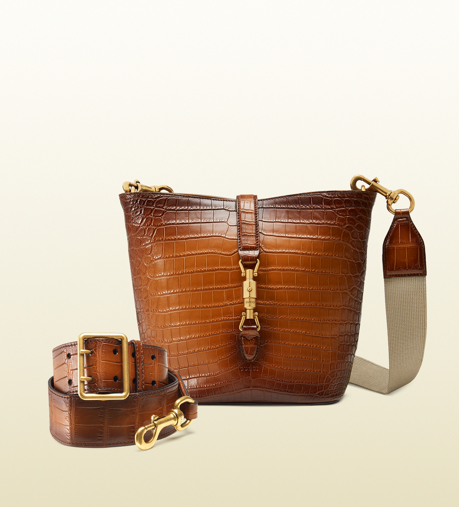 051fcea7d99 Lyst - Gucci Jackie Soft Hand-stained Crocodile Bucket Bag in Brown