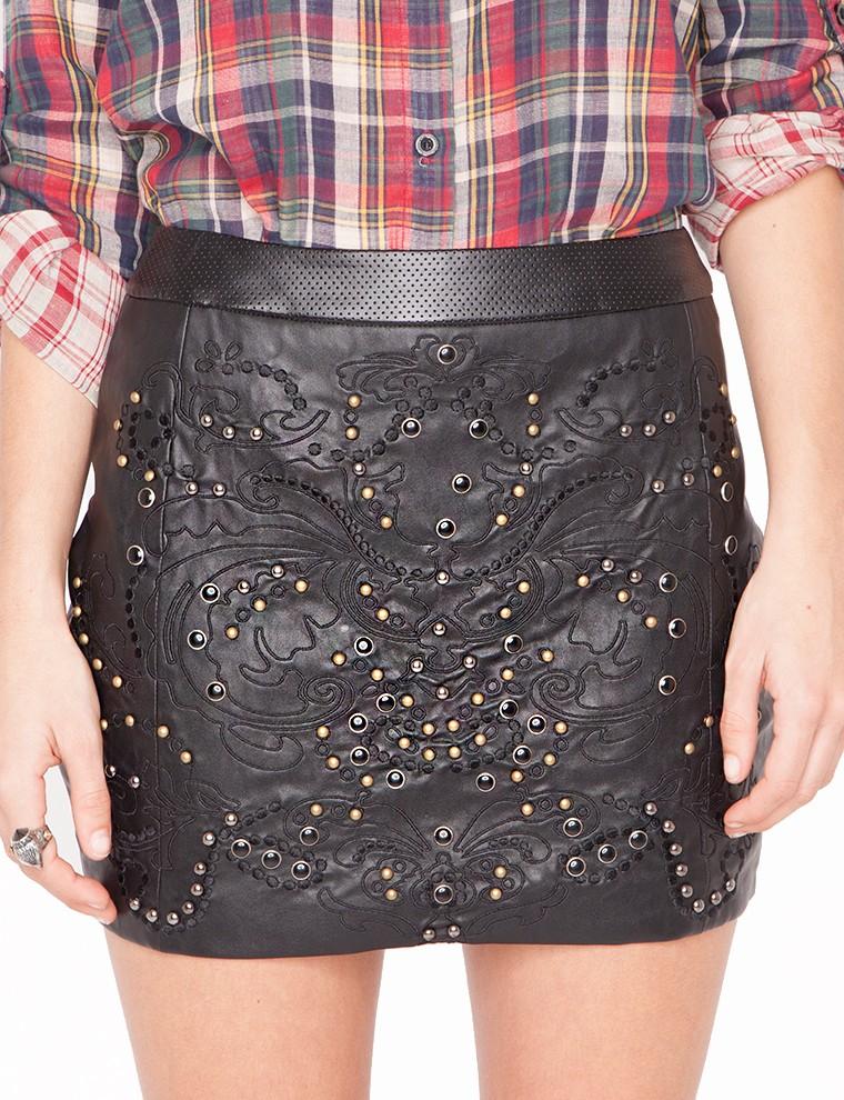 pixie market studded leather skirt in black lyst