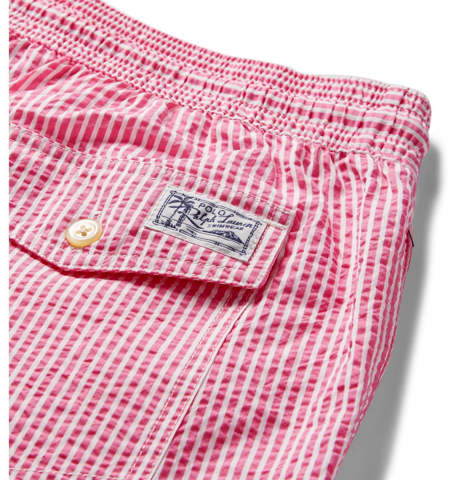 22e7d7361b ... closeout polo ralph lauren traveler striped seersucker swim shorts in  pink 7ec43 894dc