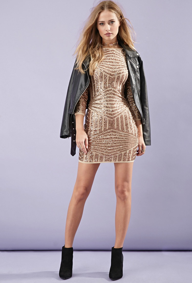 Forever 21 Sequined Abstract-patterned Dress in Metallic | Lyst