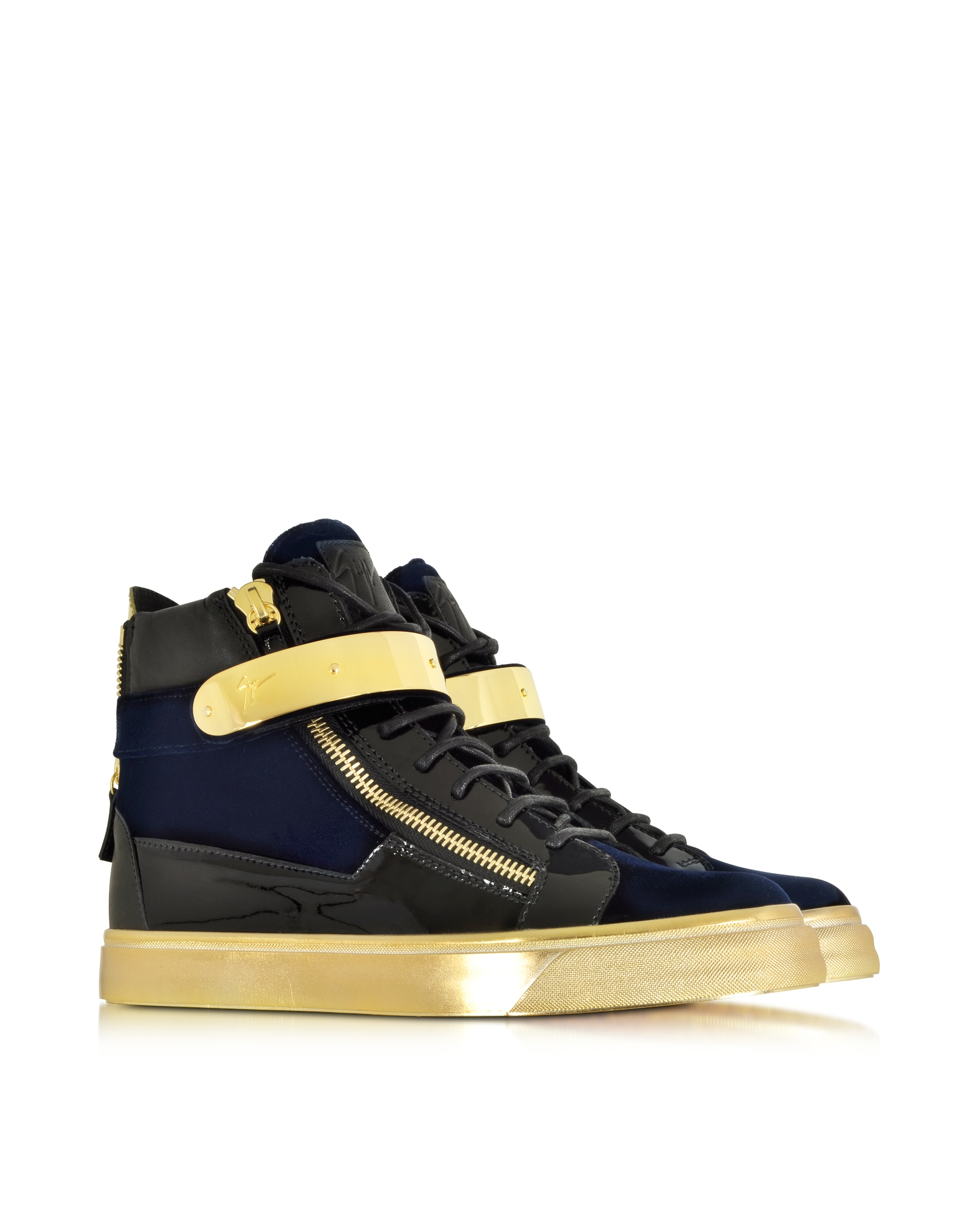 Giuseppe Zanotti Dark velvet and patent leather high-top sneakers COBY WlGMsQ70ql