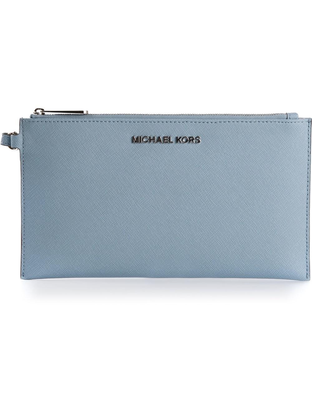 33d1e3be95fb MICHAEL Michael Kors Zipped Clutch Bag in Blue - Lyst