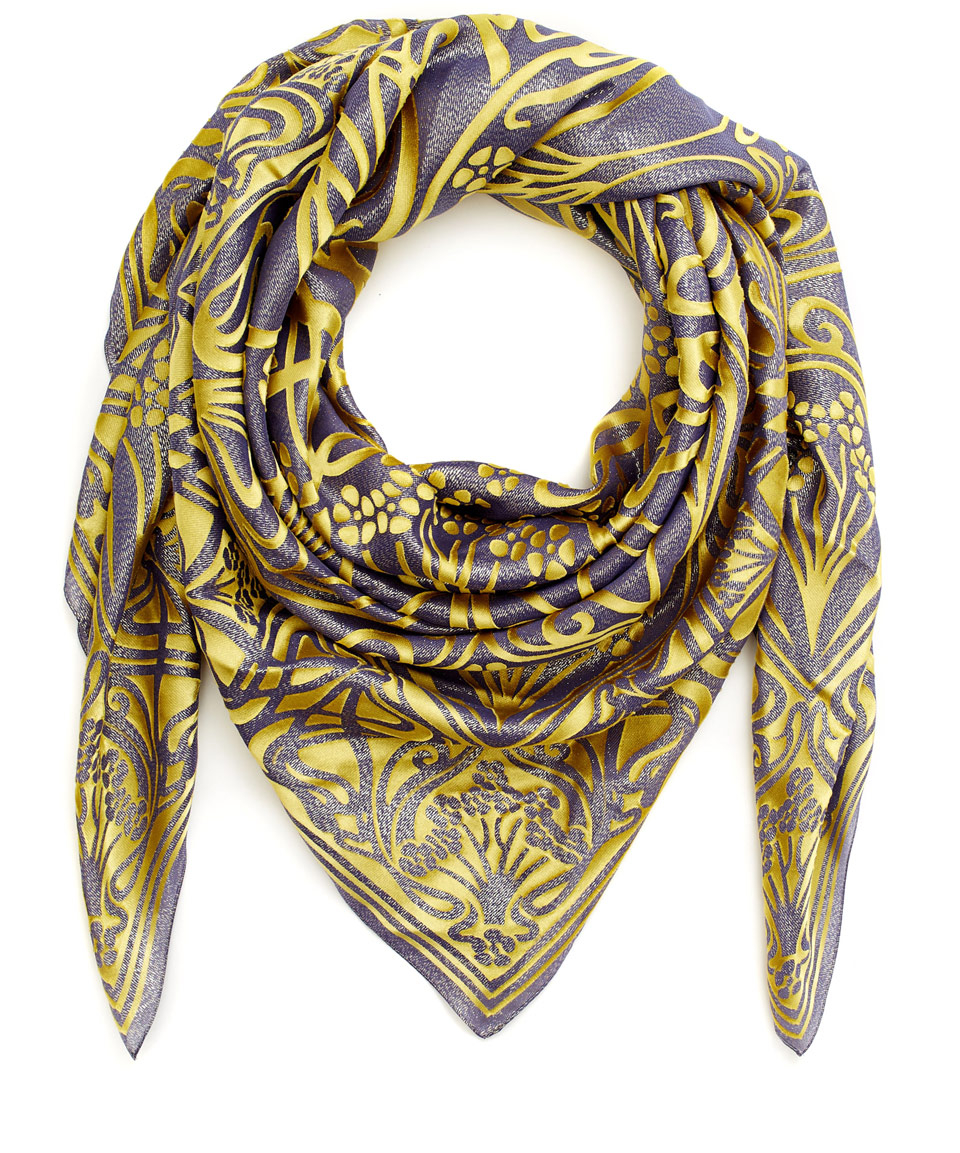 liberty lime ianthe devore satin lurex scarf in green lyst