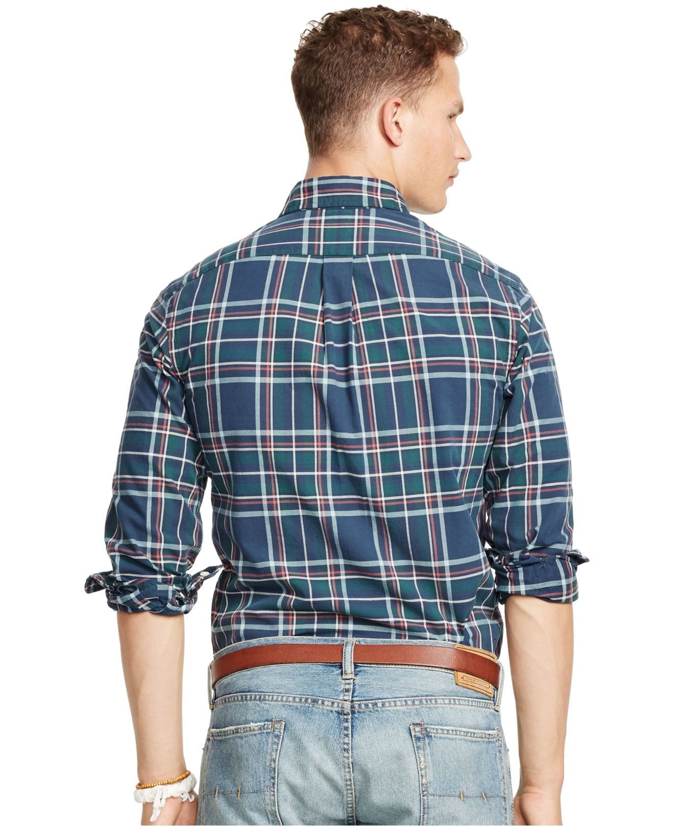 4f0a283f5945 ... shopping official lyst polo ralph lauren plaid oxford shirt in green  for men bfbb9 777ad ireland