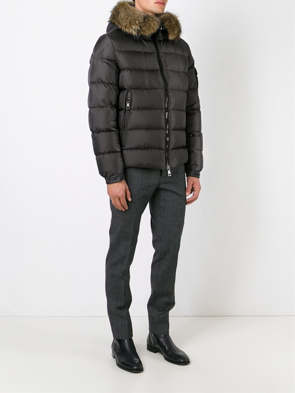 Moncler Fur Trim Padded Jacket In Black For Men Lyst
