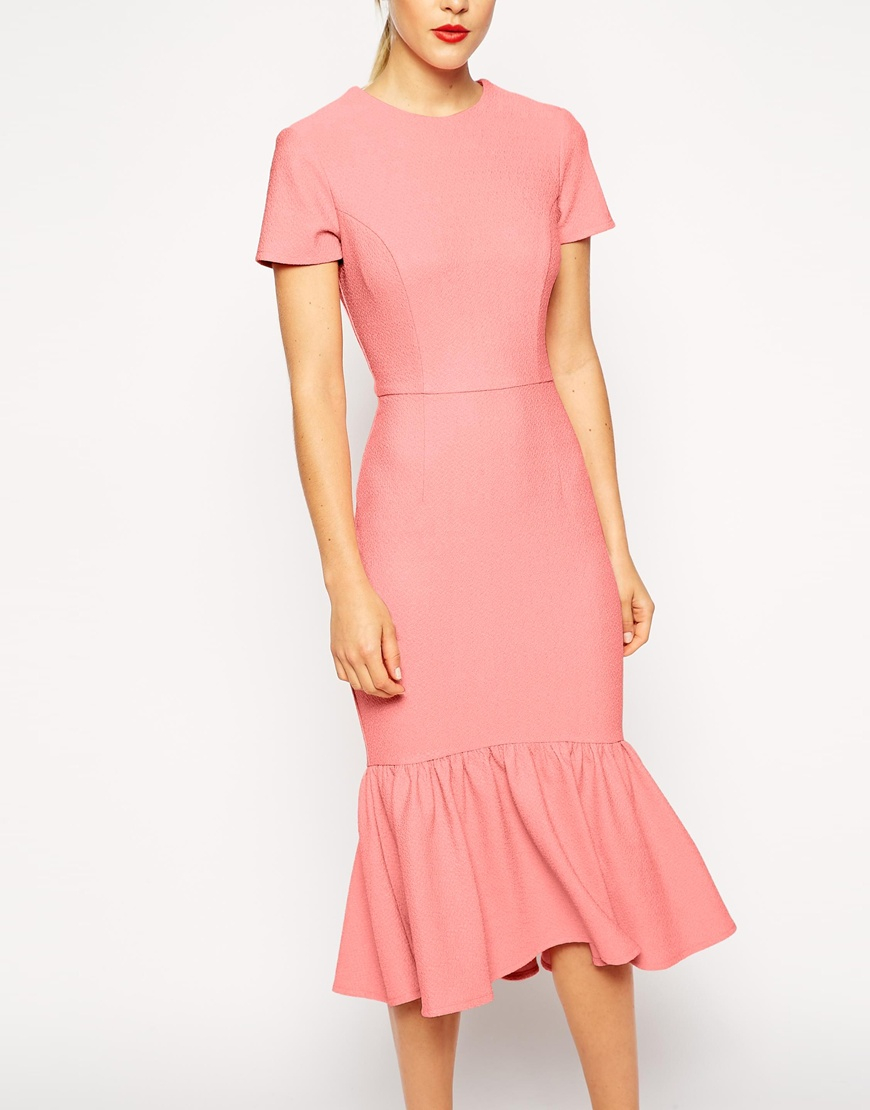 Lyst - Asos Pencil Dress With Peplum Hem In Texture in Pink