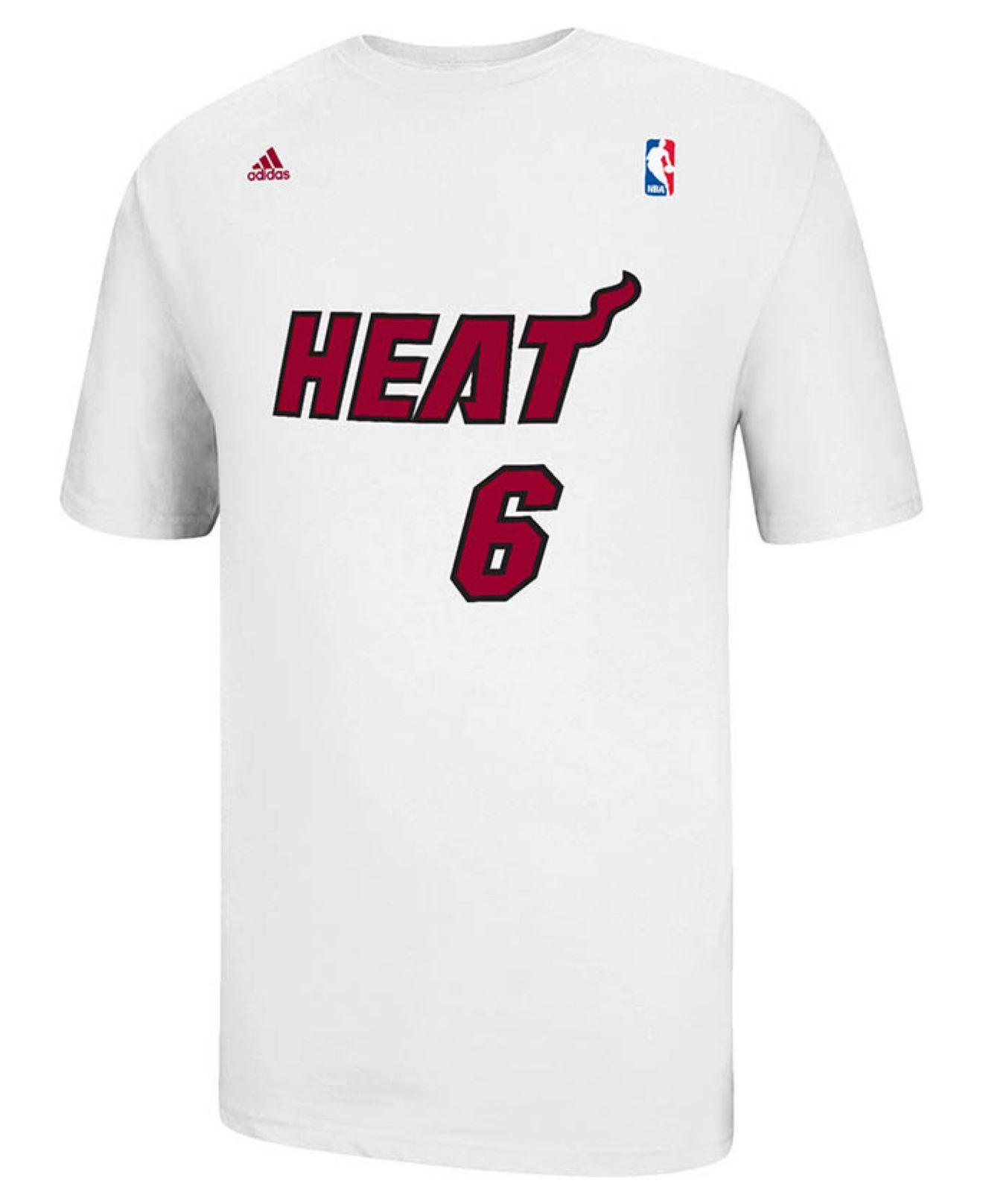 5595dffc262 Lyst - adidas Men's Miami Heat Lebron James Player T-shirt in White ...