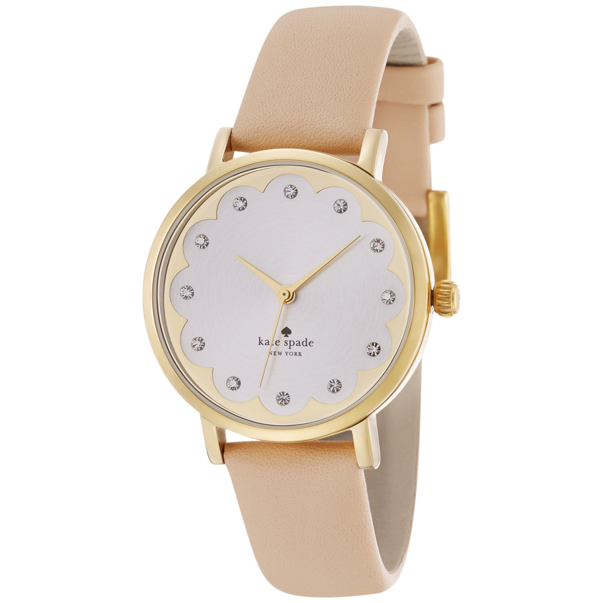 kate spade women 39 s metro vachetta leather strap watch 34mm 1yru0586 in gold lyst