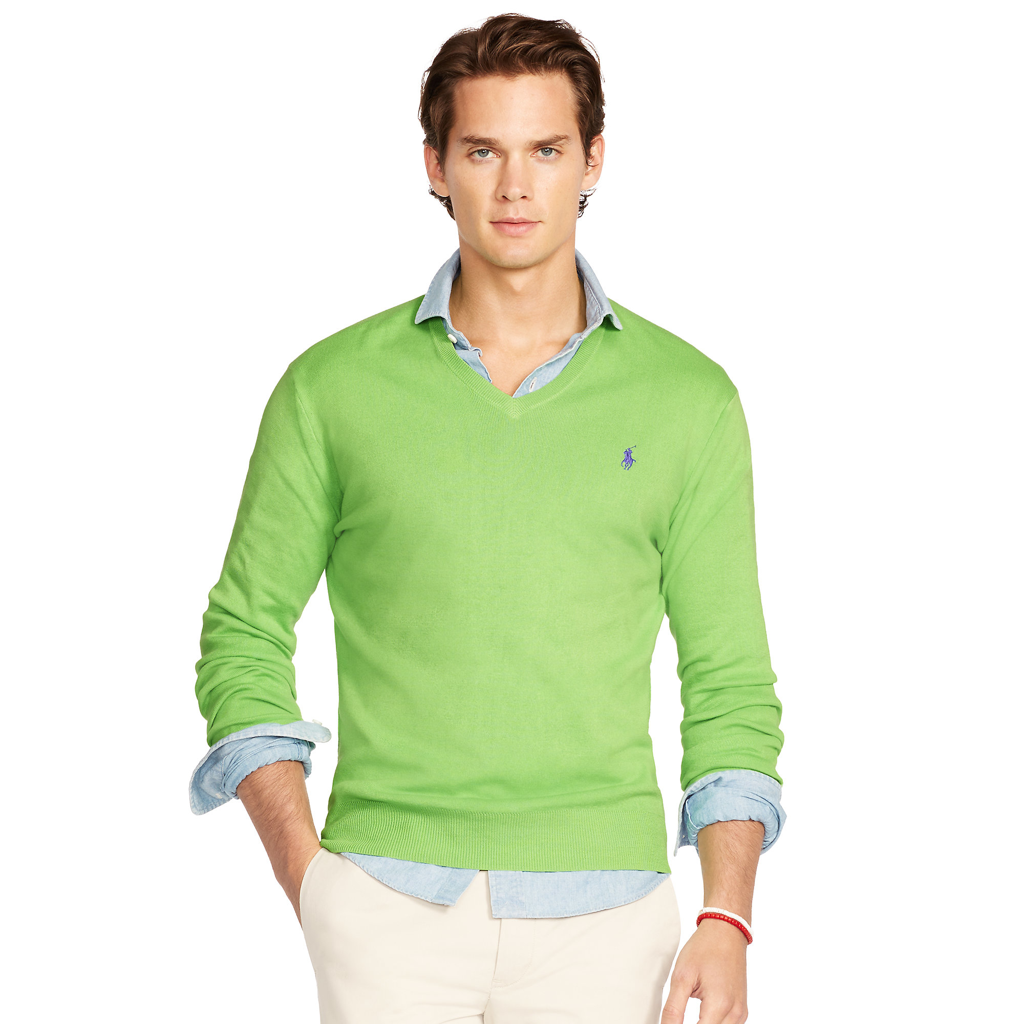 962a283fc4652 Lyst - Polo Ralph Lauren Pima Cotton V-neck Sweater in Green for Men