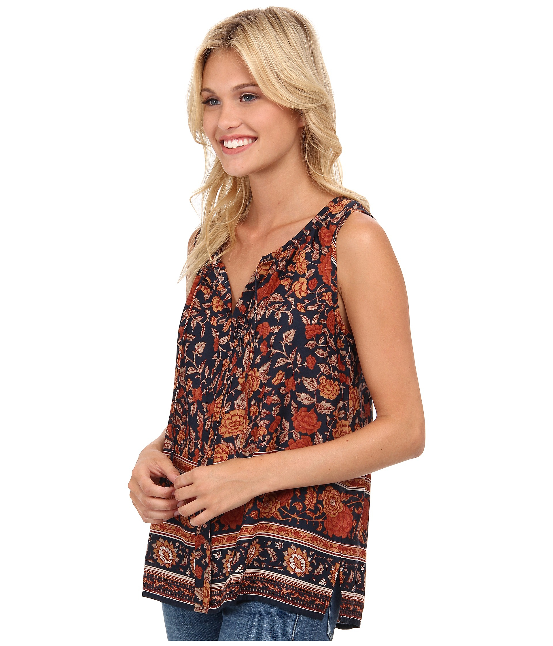 dfd88157590c3 Lyst - Lucky Brand Vintage Floral Tank Top in Brown