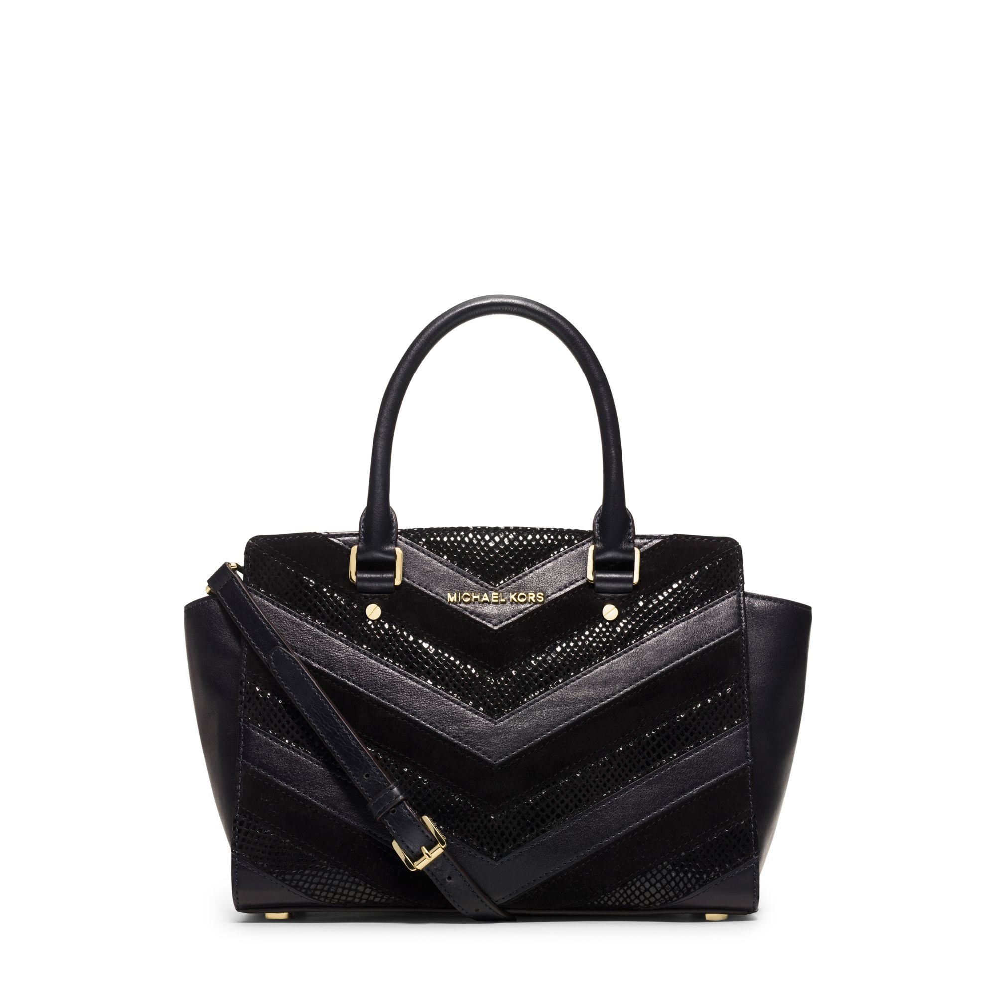 f506a3aeecb4f3 Michael Kors Selma Medium Suede And Leather Chevron Satchel in Black ...