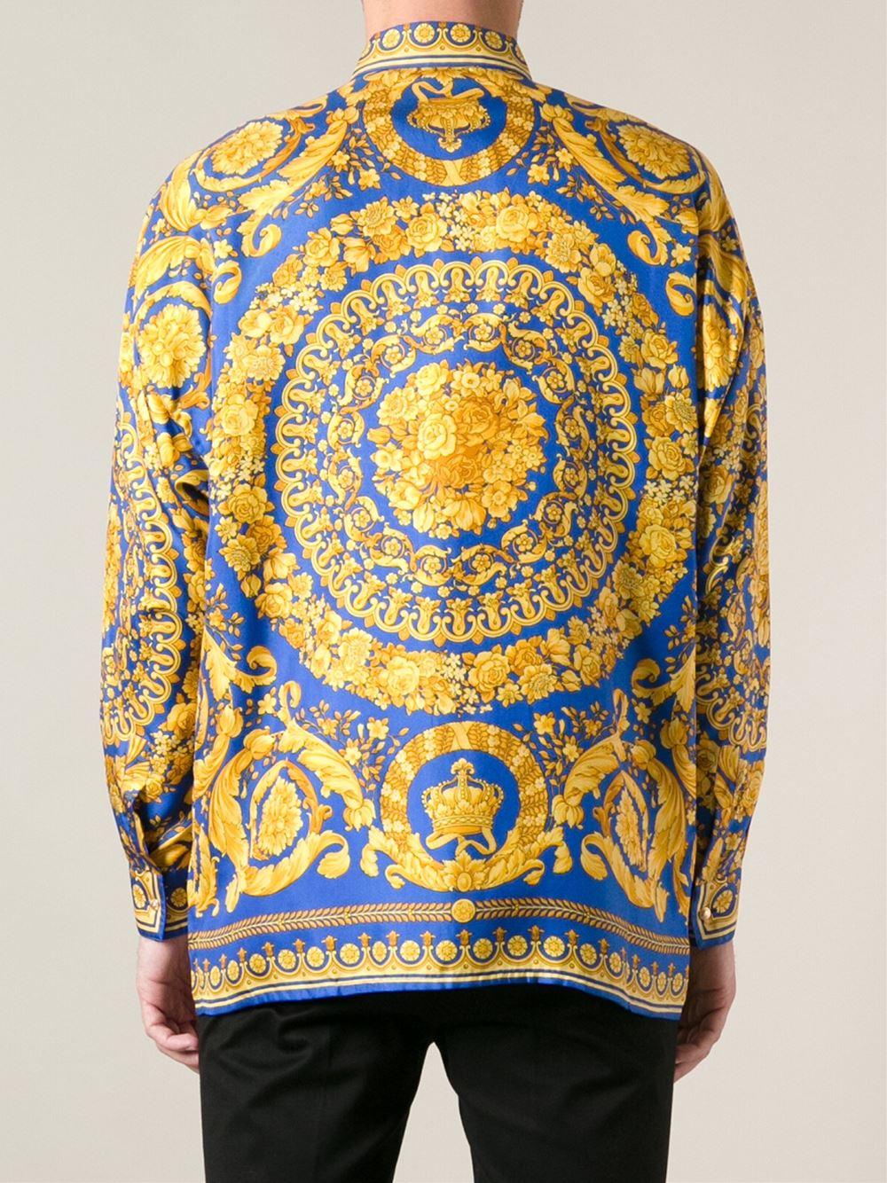 versace baroque print shirt in yellow lyst