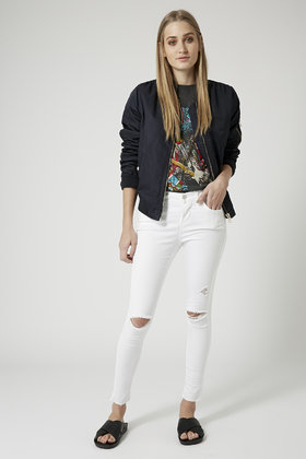 Topshop Petite Moto White Ripped Leigh Jeans in White   Lyst