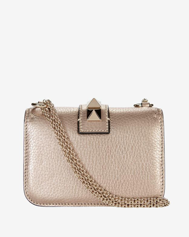 Valentino Mini Rockstud Lock Shoulder Bag: Rose Gold in Pink | Lyst