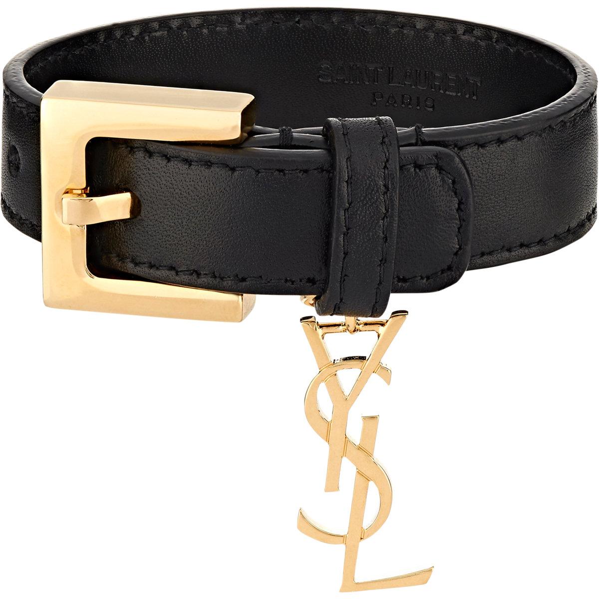 saint laurent ysl monogram charm bracelet in black lyst. Black Bedroom Furniture Sets. Home Design Ideas