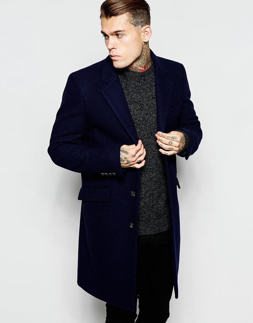 Ideal Lyst - Asos Wool Overcoat In Navy in Blue for Men FA22