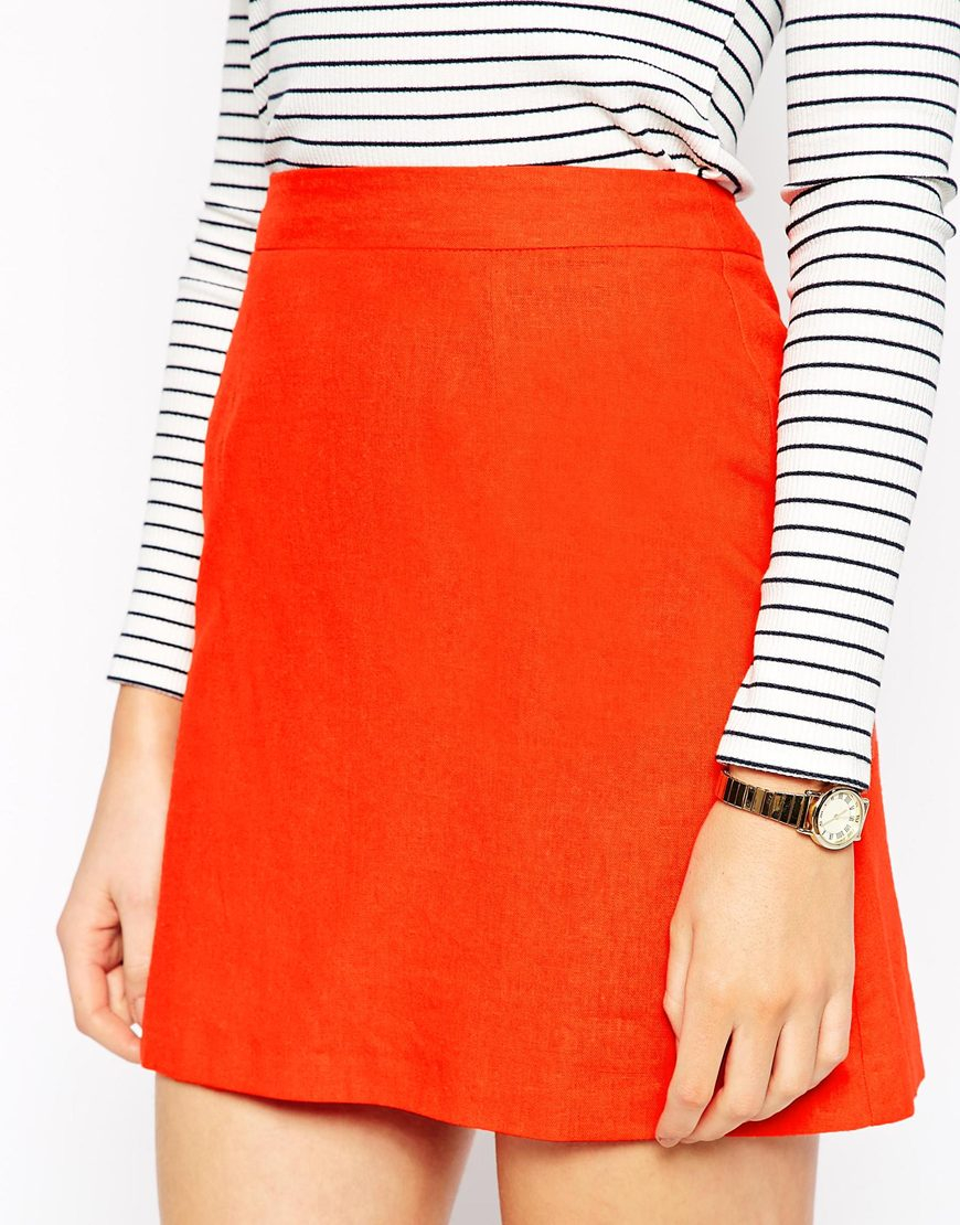 Asos A-line Linen Mini Skirt in Red | Lyst