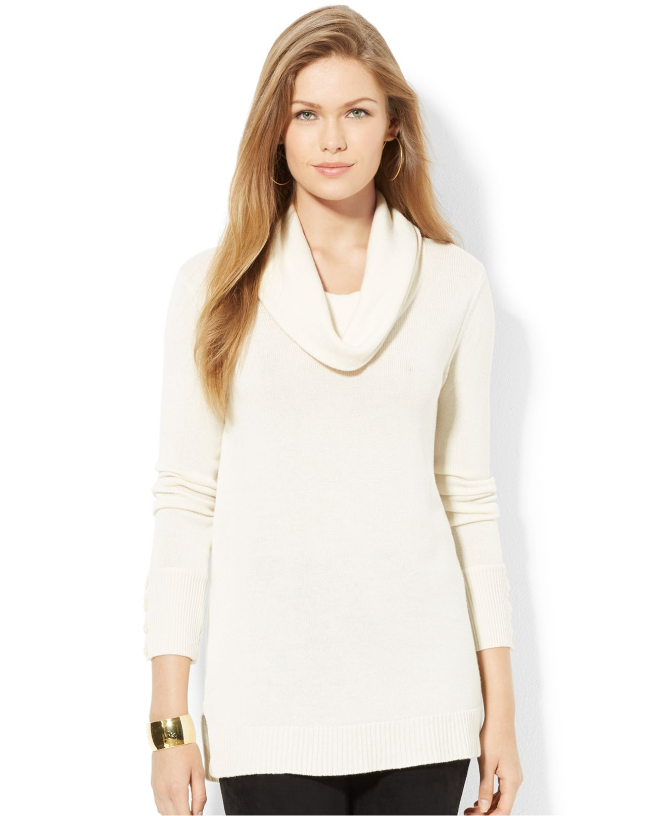 Lauren by ralph lauren Cowl-Neck Button-Cuff Sweater in Natural | Lyst