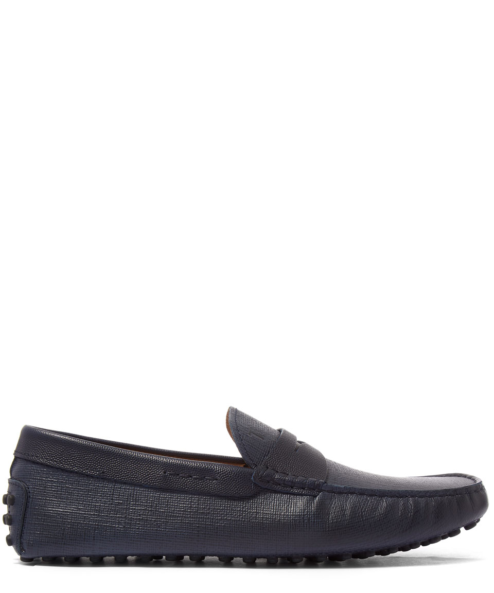 Lyst Tod S Navy Textured Nubuck Gommino Driving Shoes In