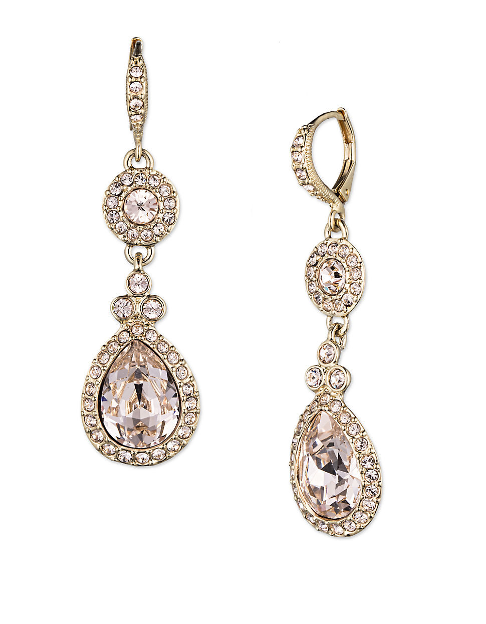 givenchy gold tone and pav 233 drop earrings