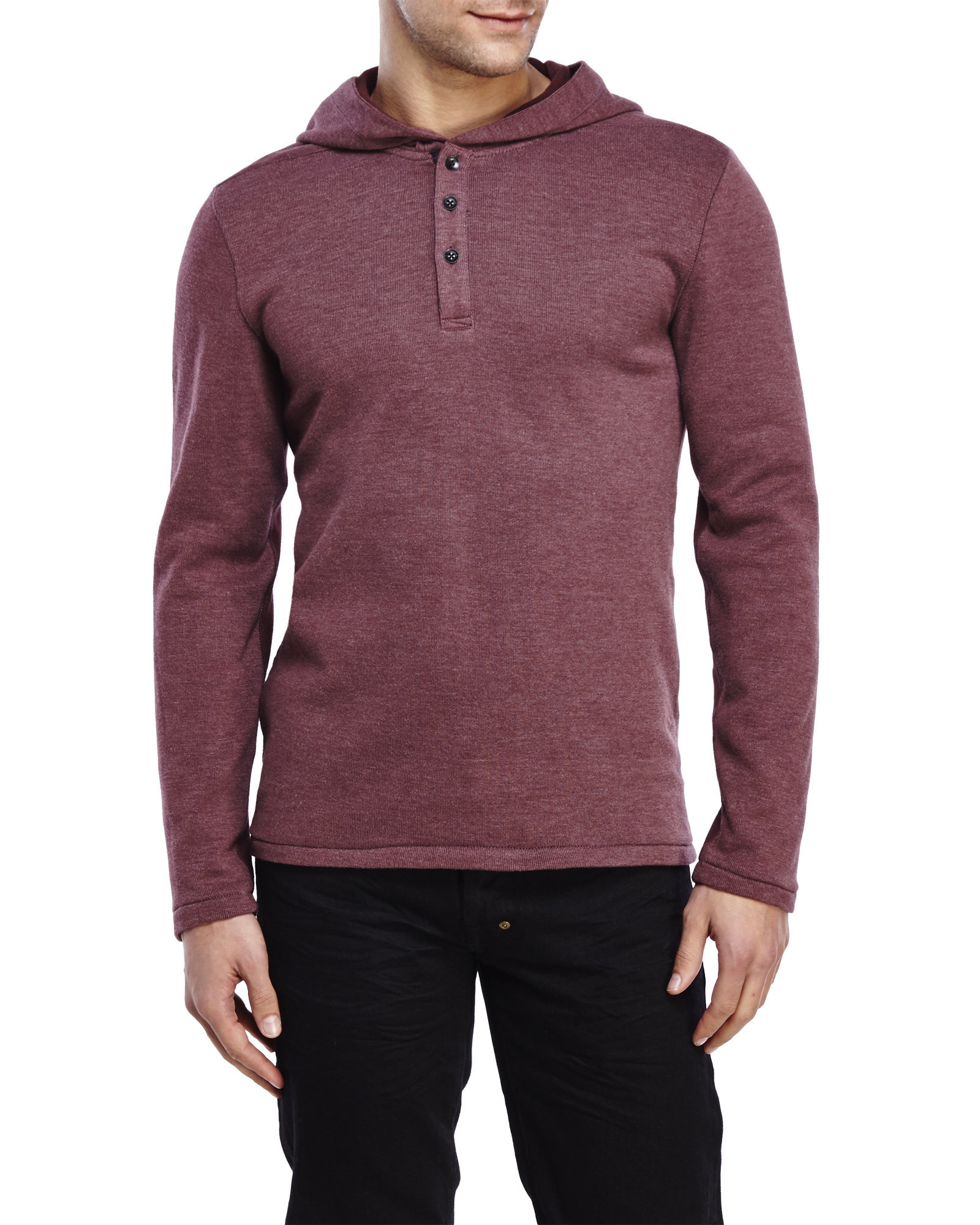 The Henley style was the traditional pullover sweatshirt worn by English rowers. This collarless three-button pullover style has since become a staple for casual wear. Imported.