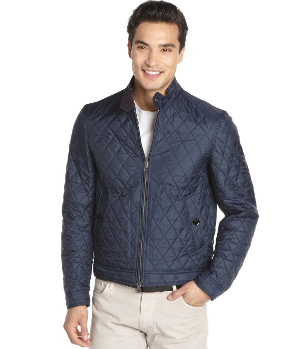Lyst burberry brit navy quilted button tab collar bomber for Snap tab collar shirt