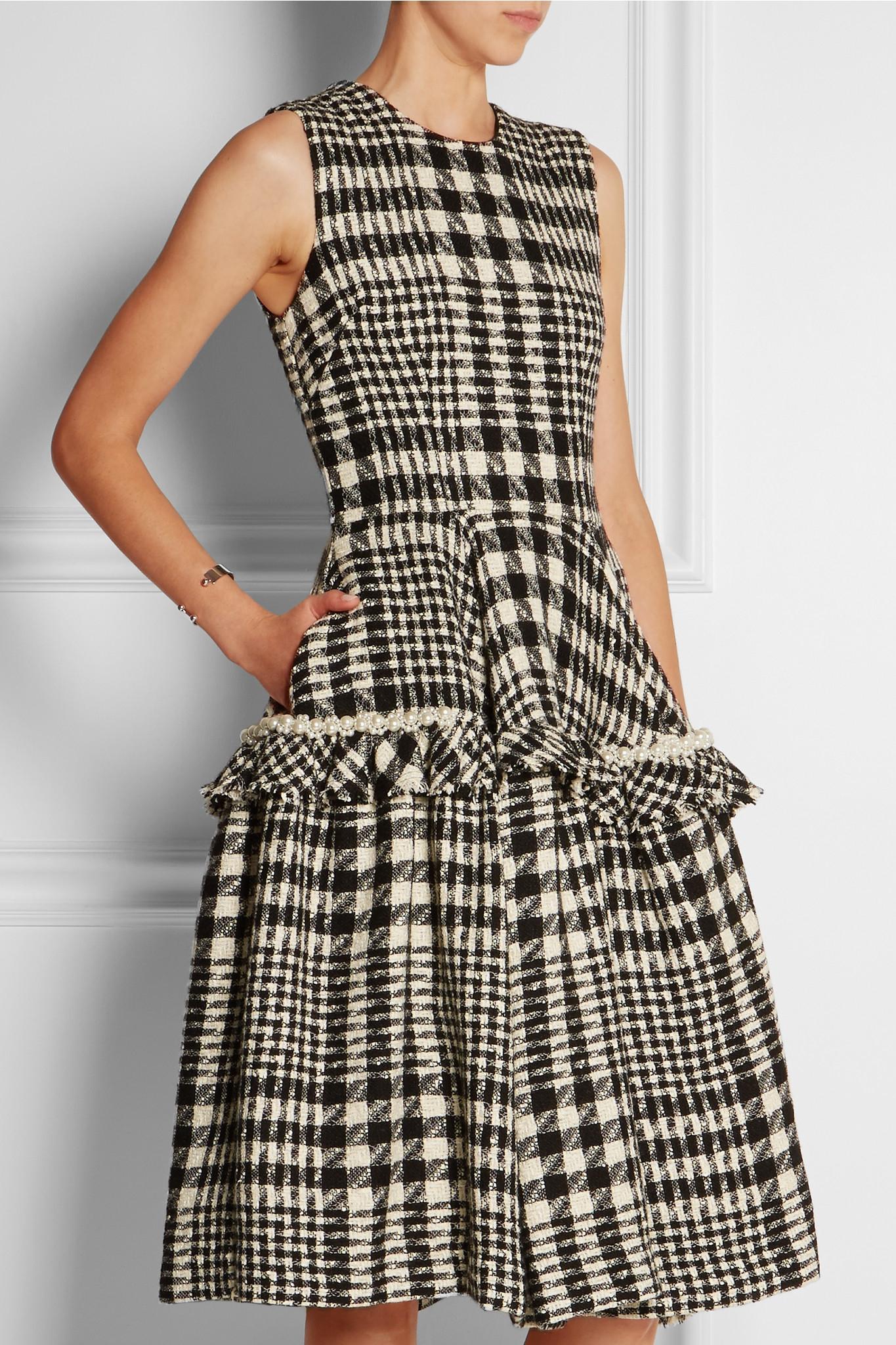 Simone rocha Faux Pearl-embellished Plaid Bouclé-tweed ...