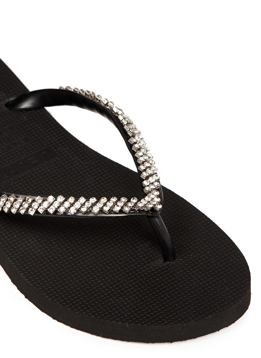 2f2ed25e1 Lyst - Uzurii  classic  Crystal Flip Flops in Black