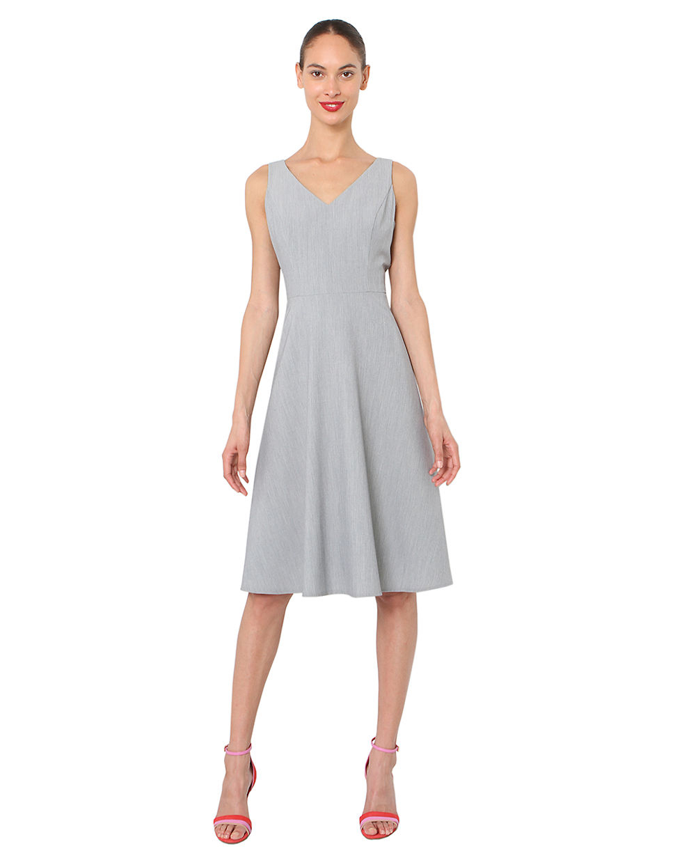 isaac mizrahi new york v neck fit and flare dress in gray