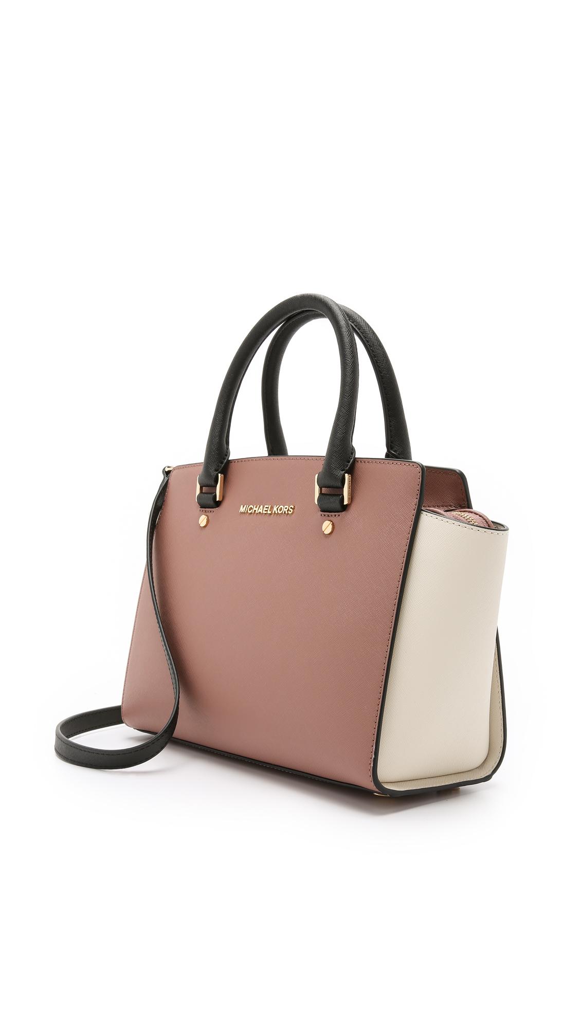 6d88da82a029 ... new arrivals lyst michael michael kors selma medium color blocked  satchel in pink 1253c 87130