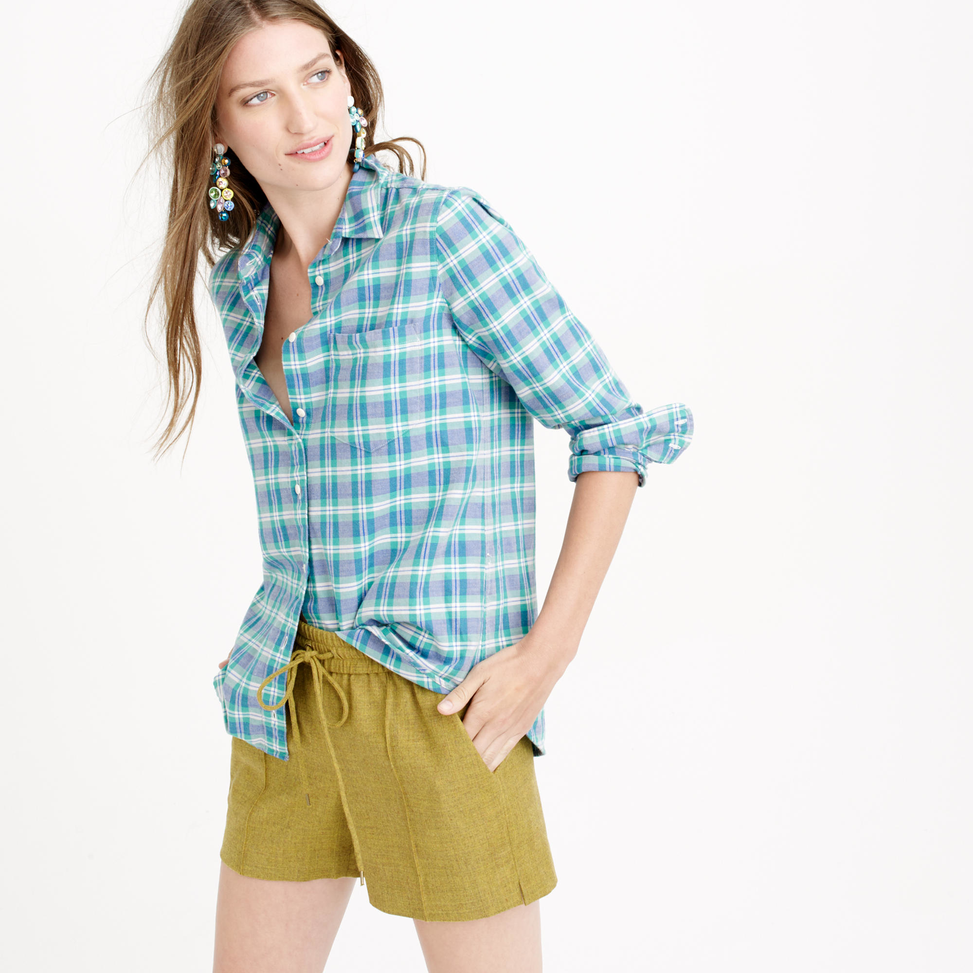 Boy shirt in green and blue plaid in green lyst for Blue and green tartan shirt