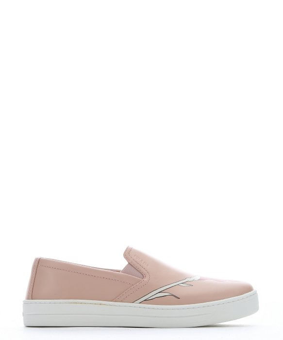prada knock off - Prada Pink Leather Floral Printed Slip-on Sneakers in Pink | Lyst