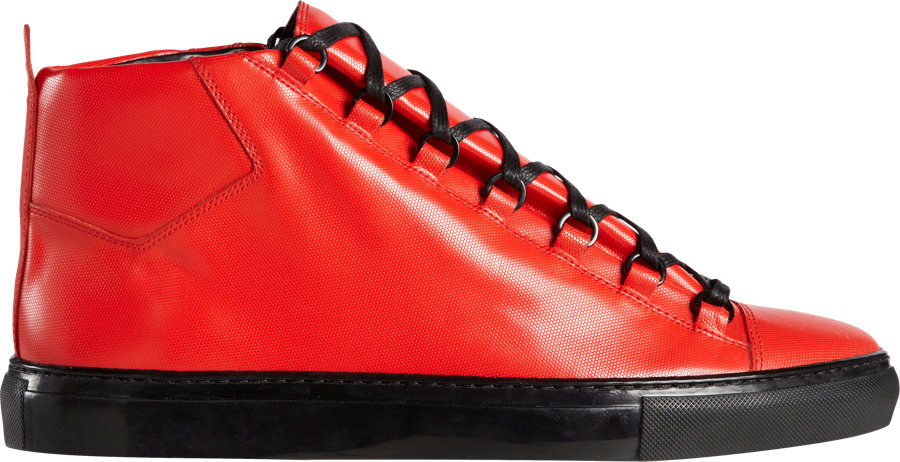 68aab38abbfc Lyst Balenciaga Arena Leather Sneakers In Red For Men