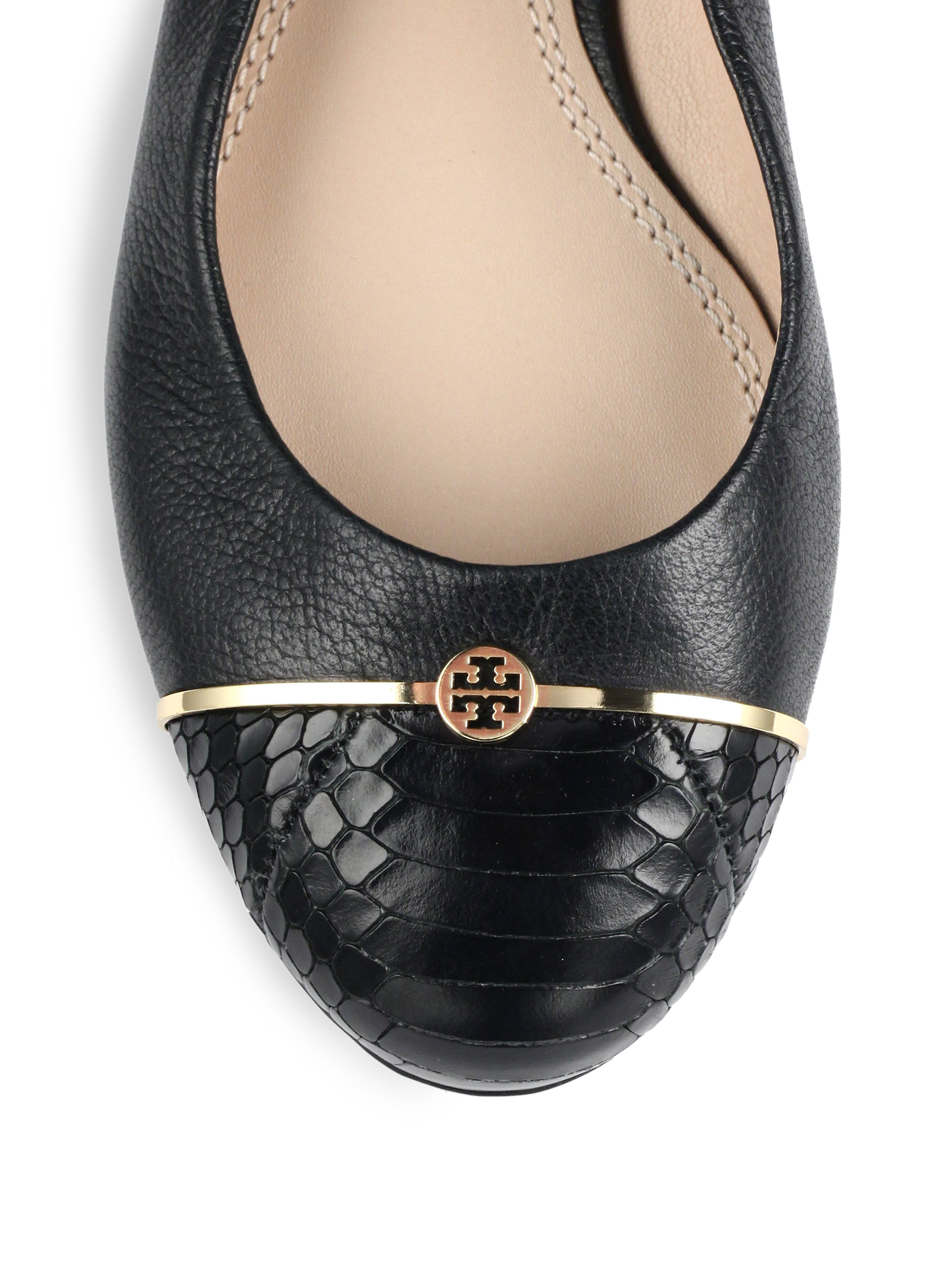 Tory Burch Logo Bar Leather Amp Snake Embossed Leather Flats