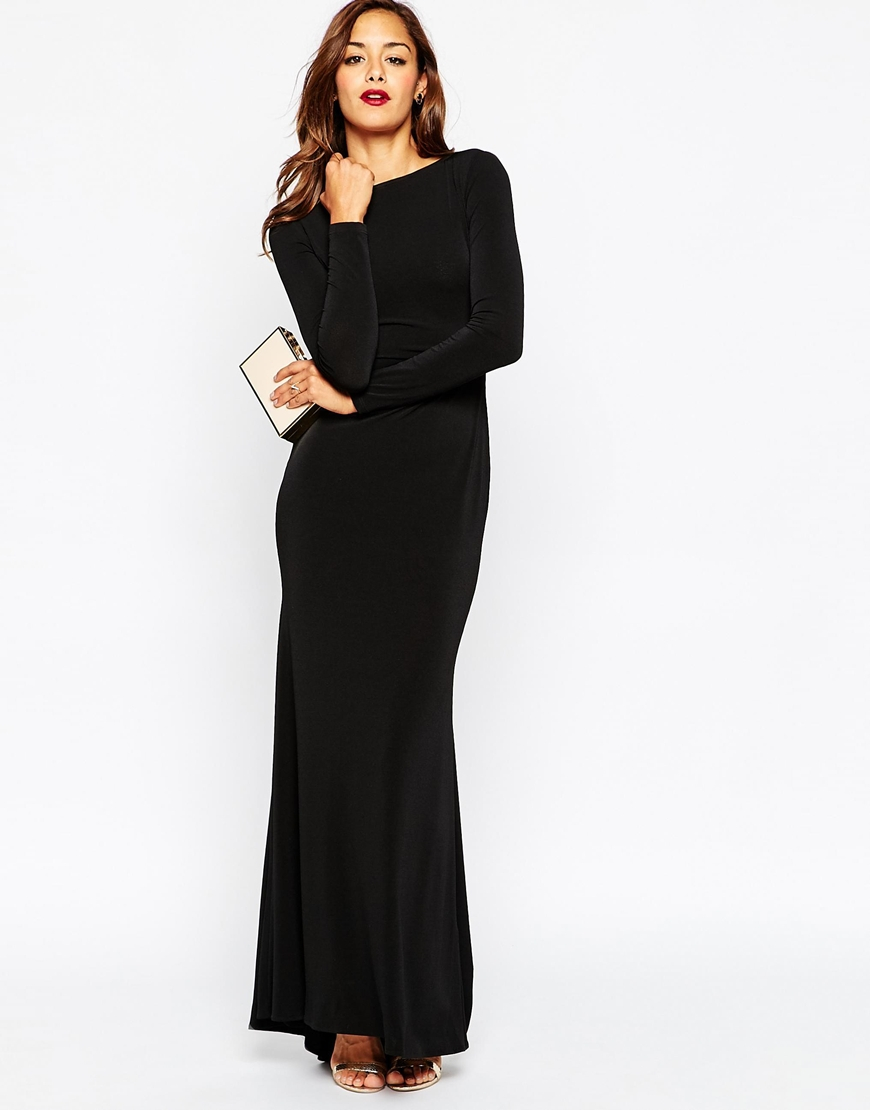 lyst asos cowl back with scallop lace detail maxi dress. Black Bedroom Furniture Sets. Home Design Ideas