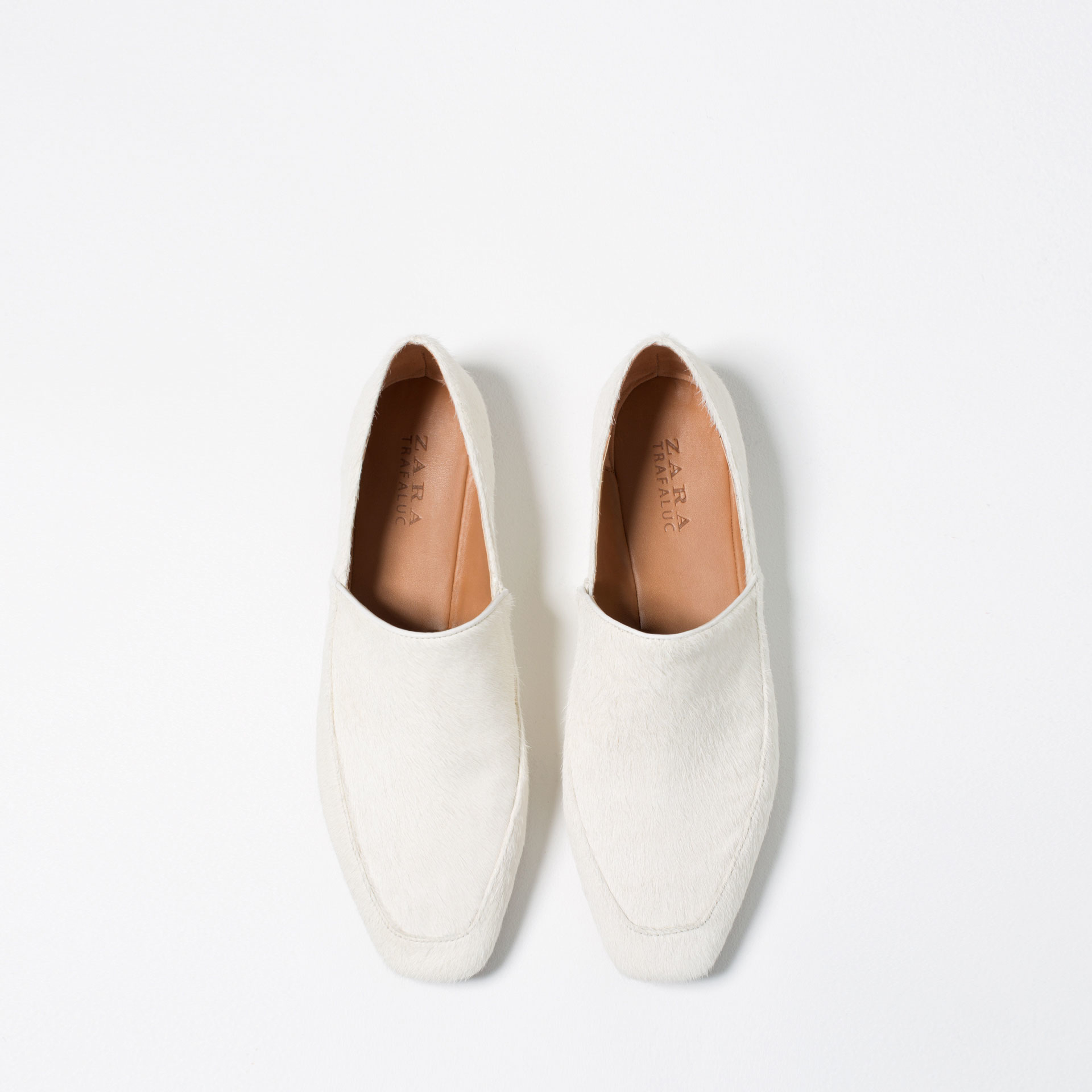 zara flat leather shoes in white for lyst