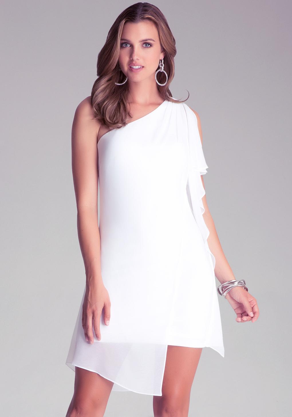 Bebe One Shoulder White Dress