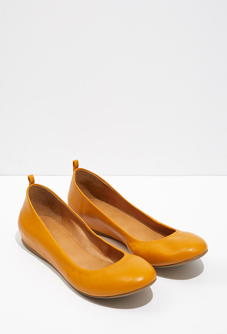 Orange Ballet Flat Shoes