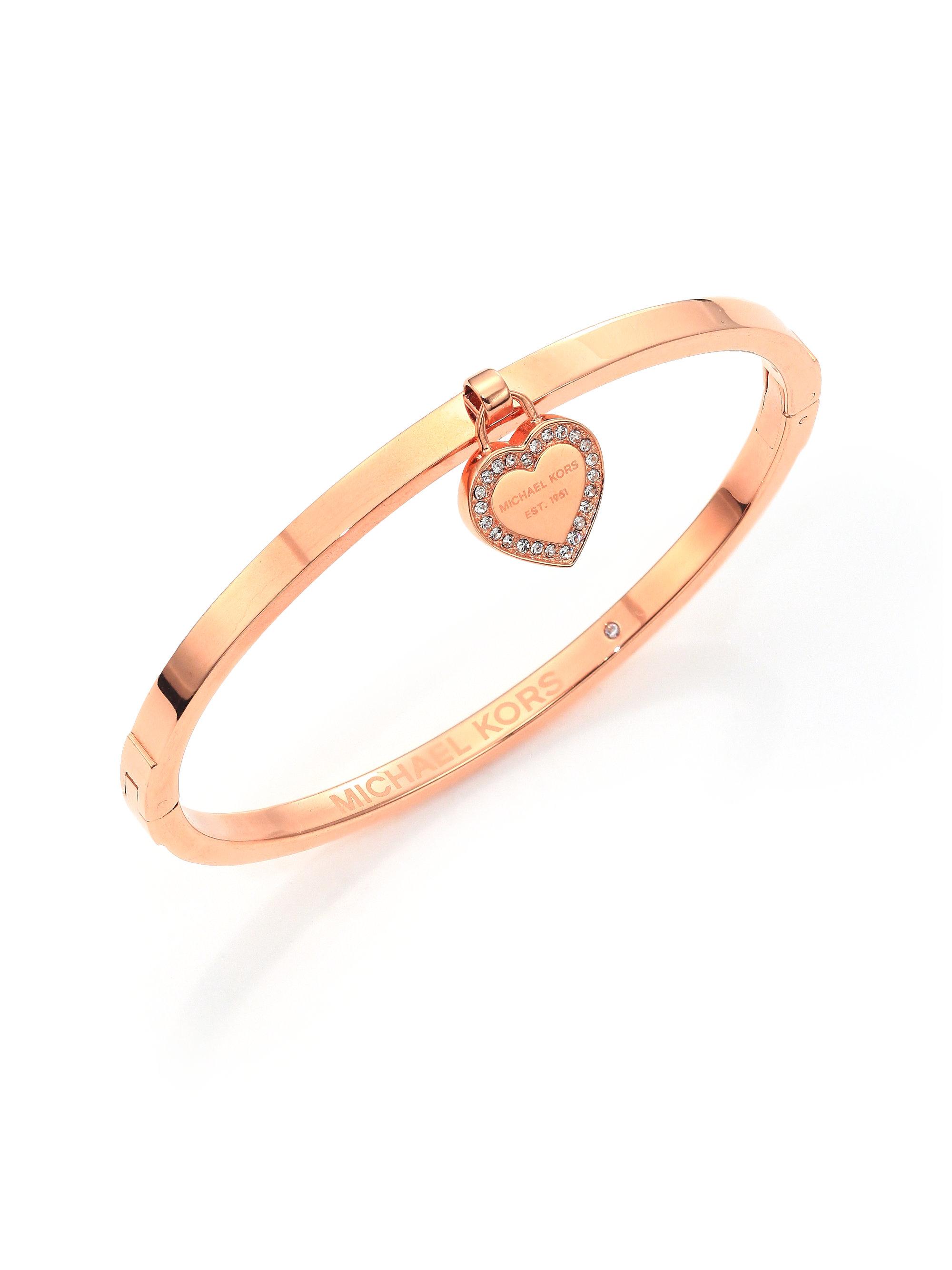 michael kors heritage logo heart charm bangle bracelet