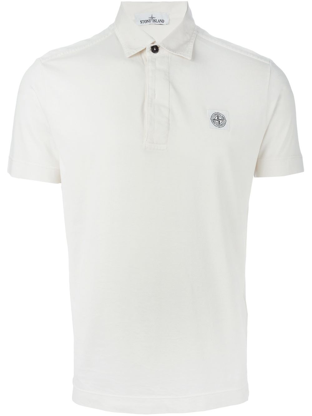 Stone island logo patch cotton polo shirt in beige for men for Cotton polo shirts with logo