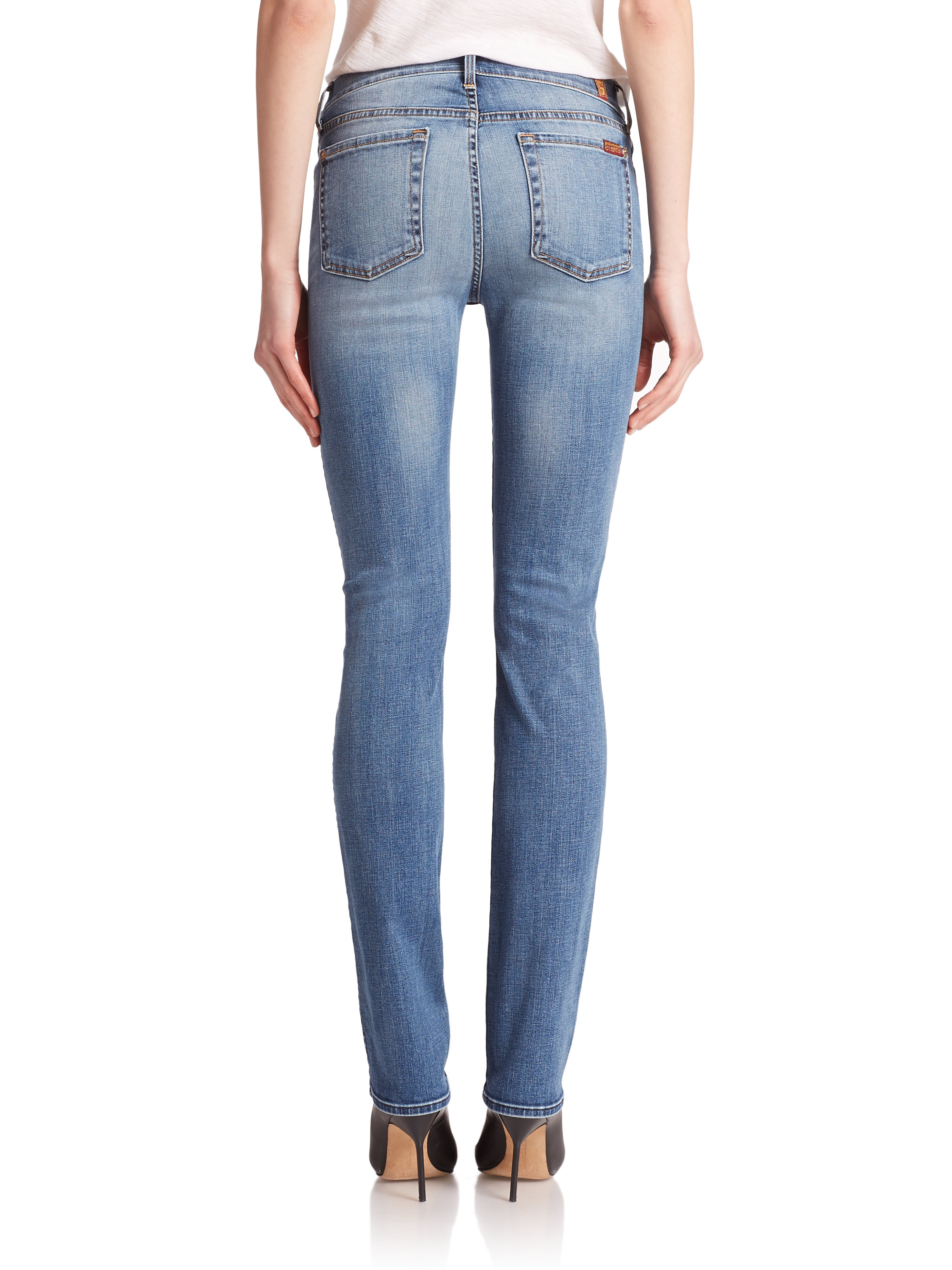 for all mankind modern straight leg jeans in blue lyst. Black Bedroom Furniture Sets. Home Design Ideas