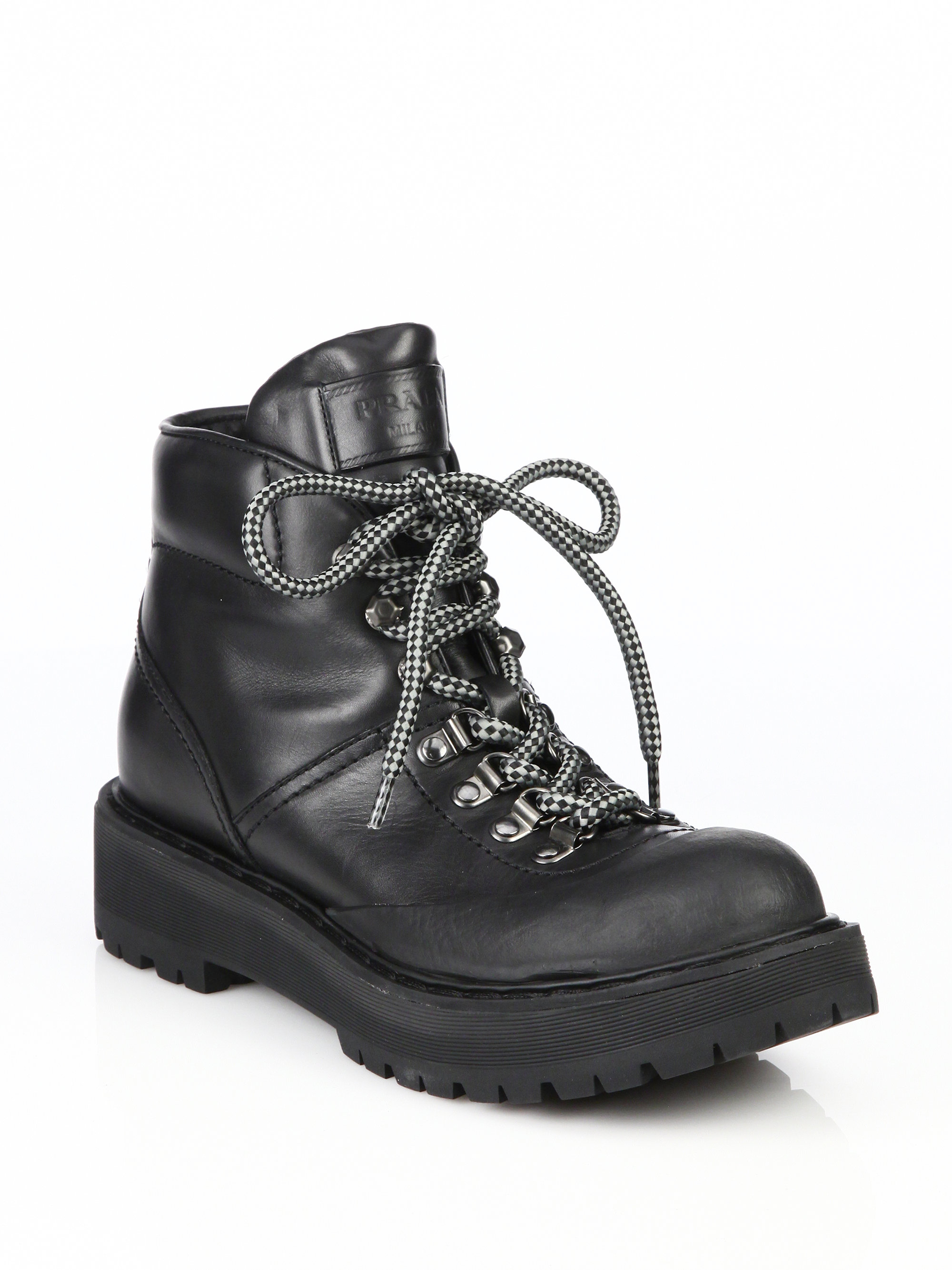 Prada Leather Lace Up Hiking Boots In Black For Men Lyst