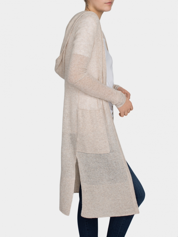White   warren Cashmere Hooded Long Cardigan in Natural | Lyst