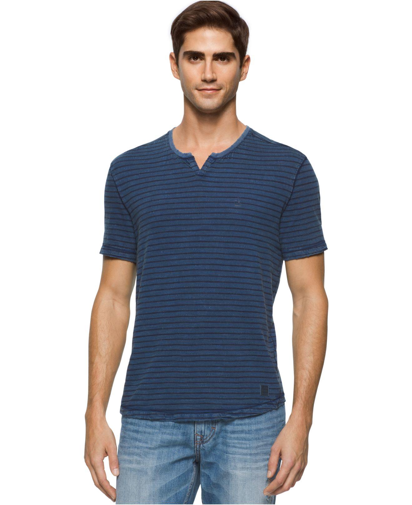calvin klein jeans men 39 s stripe bleach wash split neck t. Black Bedroom Furniture Sets. Home Design Ideas